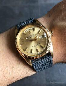 Rolex Day-Date on dark grey WB Original perlon strap