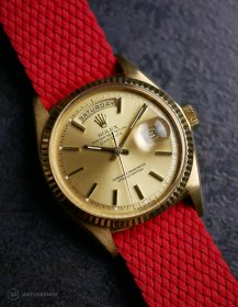 Rolex Day-Date on red WB Original perlon strap