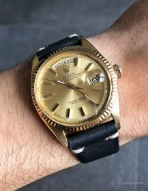 Rolex Day-Date on midnight-blue vintage leather strap by WB Original
