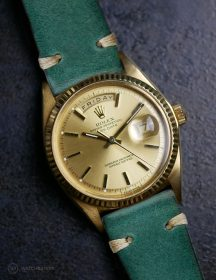 Rolex Day-Date on petrol-green vintage leather strap by WB Original