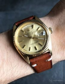 Rolex Day-Date on brown vintage leather strap by WB Original