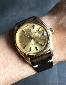 Rolex Day-Date on military-green vintage leather strap by WB Original