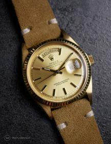 Rolex Day-Date on Watchbandit beige vintage suede leather strap