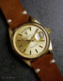 Rolex Day-Date on Watchbandit brown vintage suede leather strap