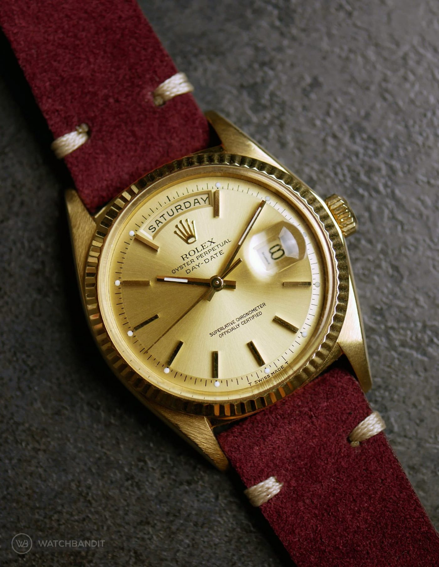 Rolex Day-Date on Watchbandit burgundy vintage suede leather strap