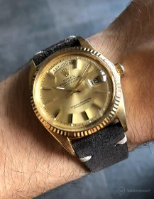 Rolex Day-Date on Watchbandit dark grey vintage suede leather strap