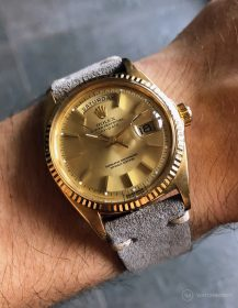 Rolex Day-Date on Watchbandit grey vintage suede leather strap