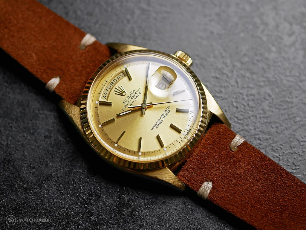 Rolex Day-Date ref. 1803 on brown suede leather strap by Watchbandit Original
