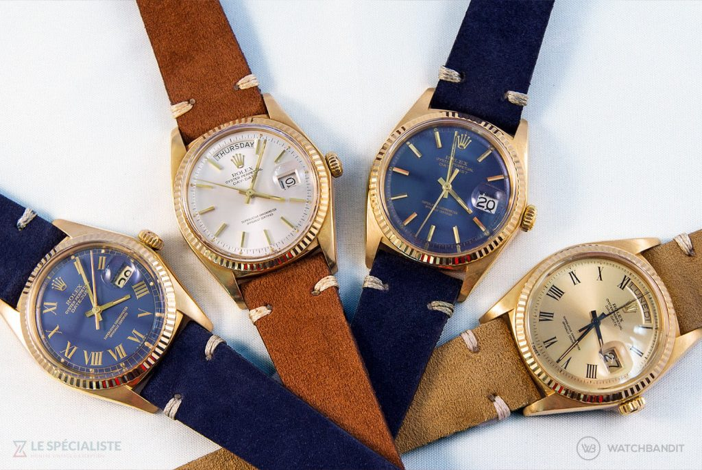 Vintage Rolex day-date and datejust on suede leather by watchbandit