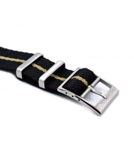 Adjustable NATO strap black beige buckle