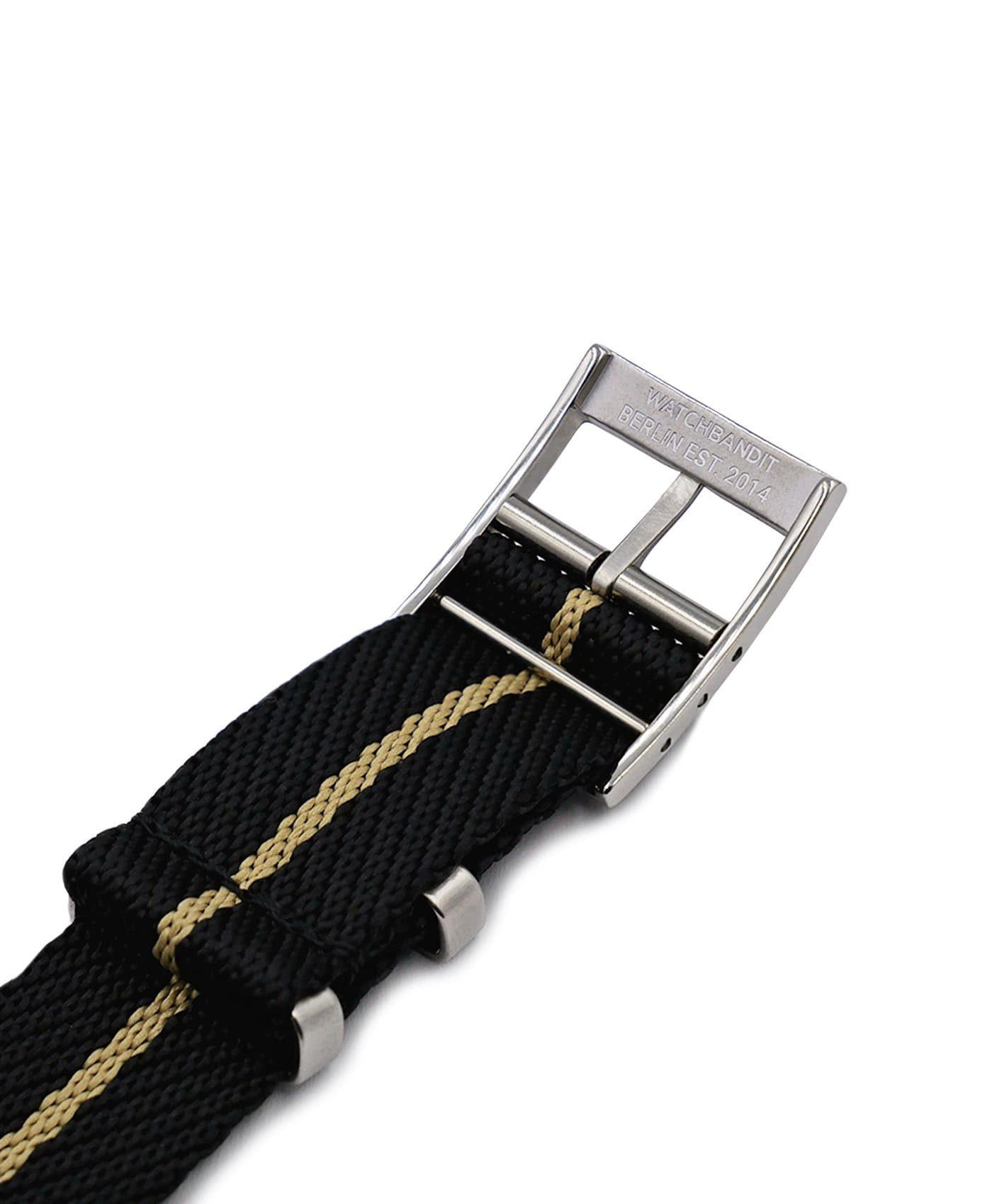 Adjustable NATO strap black beige engraved buckle