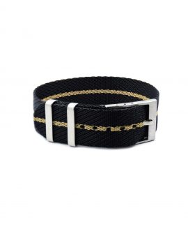 Adjustable NATO strap black beige front