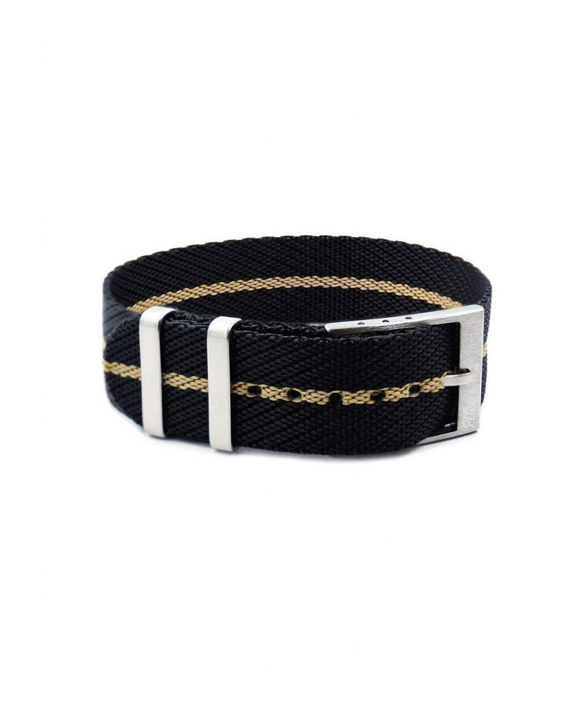 Adjustable NATO strap black beige front