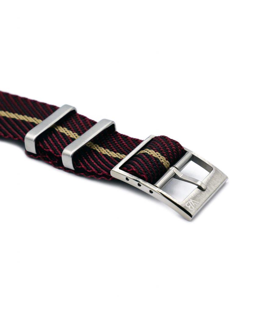 Adjustable NATO strap burgundy beige buckle
