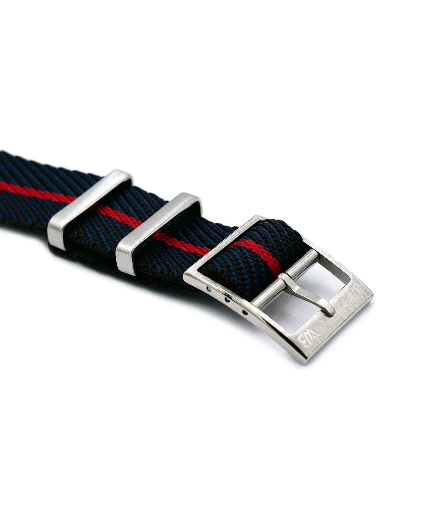 Adjustable NATO strap black blue red buckle