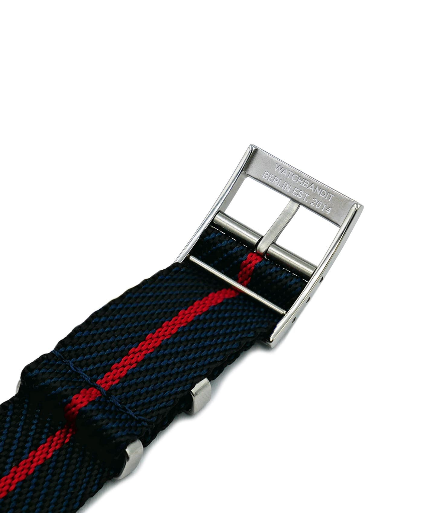 Adjustable NATO strap black blue red engraved buckle