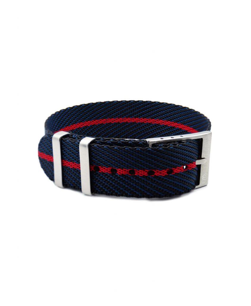 Adjustable NATO strap black blue red front