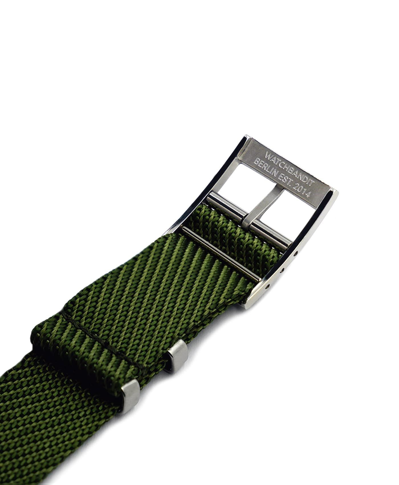 Adjustable NATO strap green engraved buckle
