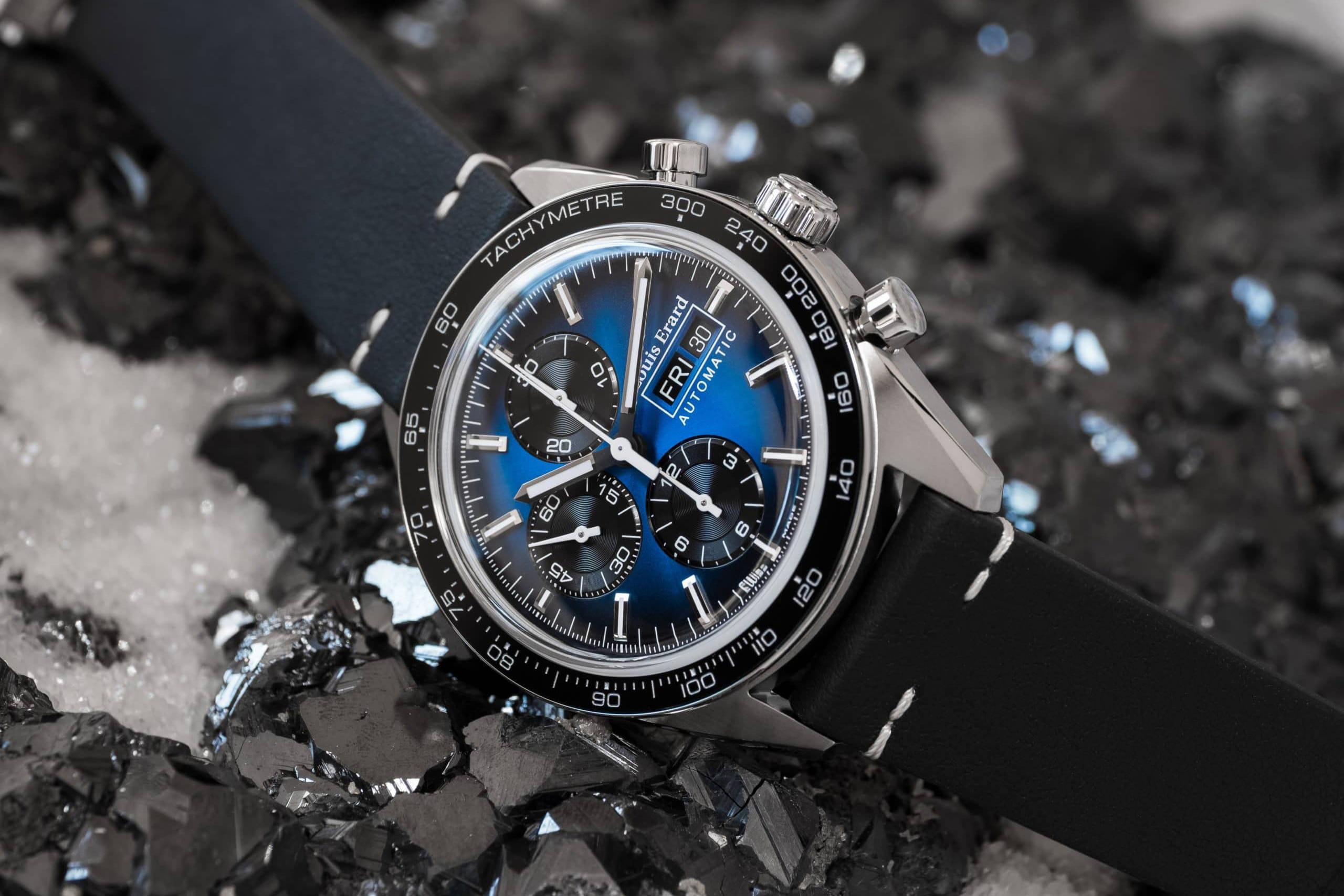 Louis Erard La Sportive Limited Edition Titanium Blue dial header