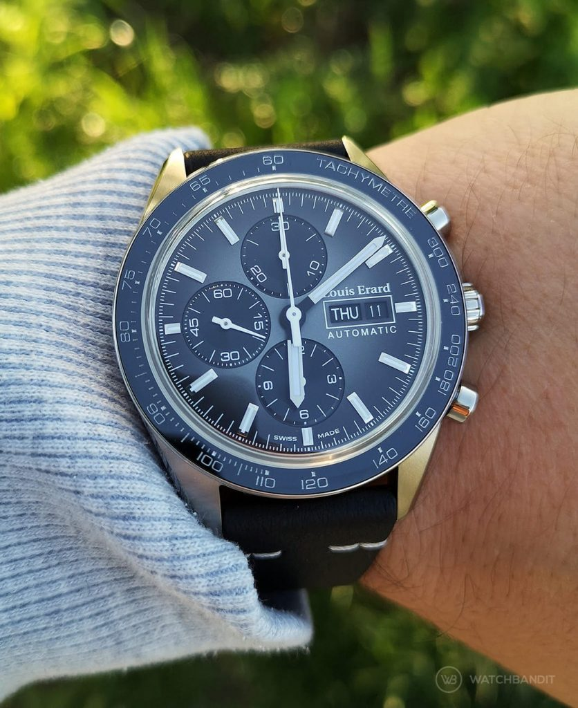 Louis Erard La Sportive Limited Edition Titanium chronograph Wrist shot
