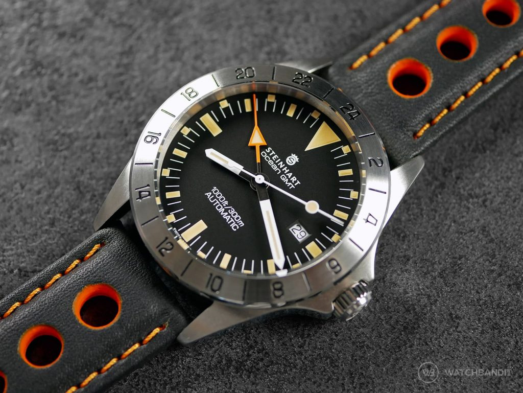 Steinhart Ocean Vintage GMT Orange Schwarz Barington Racing Leder Uhrenarmband