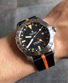 Steinhart Ocean Vintage GMT Strap guide black orange two-piece NATO strap