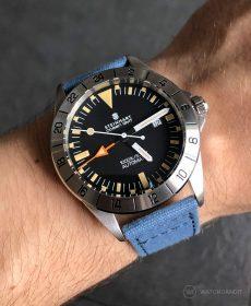 Steinhart Ocean Vintage GMT Strap guide blue canvas strap watchbandit