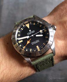 Steinhart Ocean Vintage GMT Strap guide olive green canvas strap watchbandit