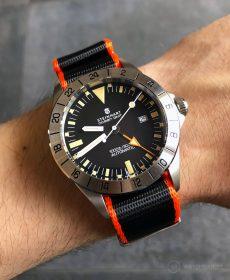 Steinhart Ocean Vintage GMT Strap guide orange black NATO strap
