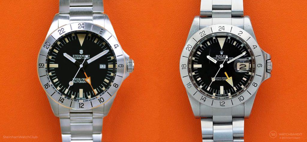Steinhart Ocean Vintage GMT und Rolex Explorer II 1655 Vergleich