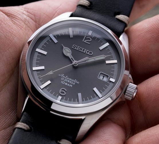 Seiko Sbsz007 black leather strap by Watchbandit