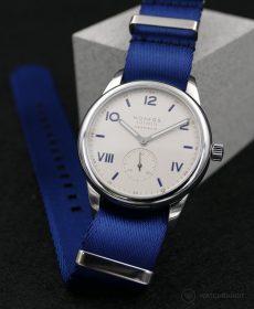NOMOS Club Campus blue premium NATO strap Watchbandit
