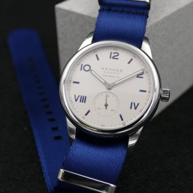 NOMOS Club Campus blue premium NATO strap Watchbandit
