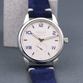 NOMOS Club Campus blue suede strap watchbandit