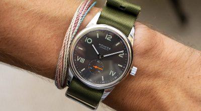 NOMOS Club Campus nacht 736 premium green NATO strap Watchbandit wristshot
