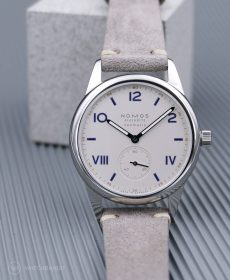 NOMOS Club Campus grey suede strap watchbandit