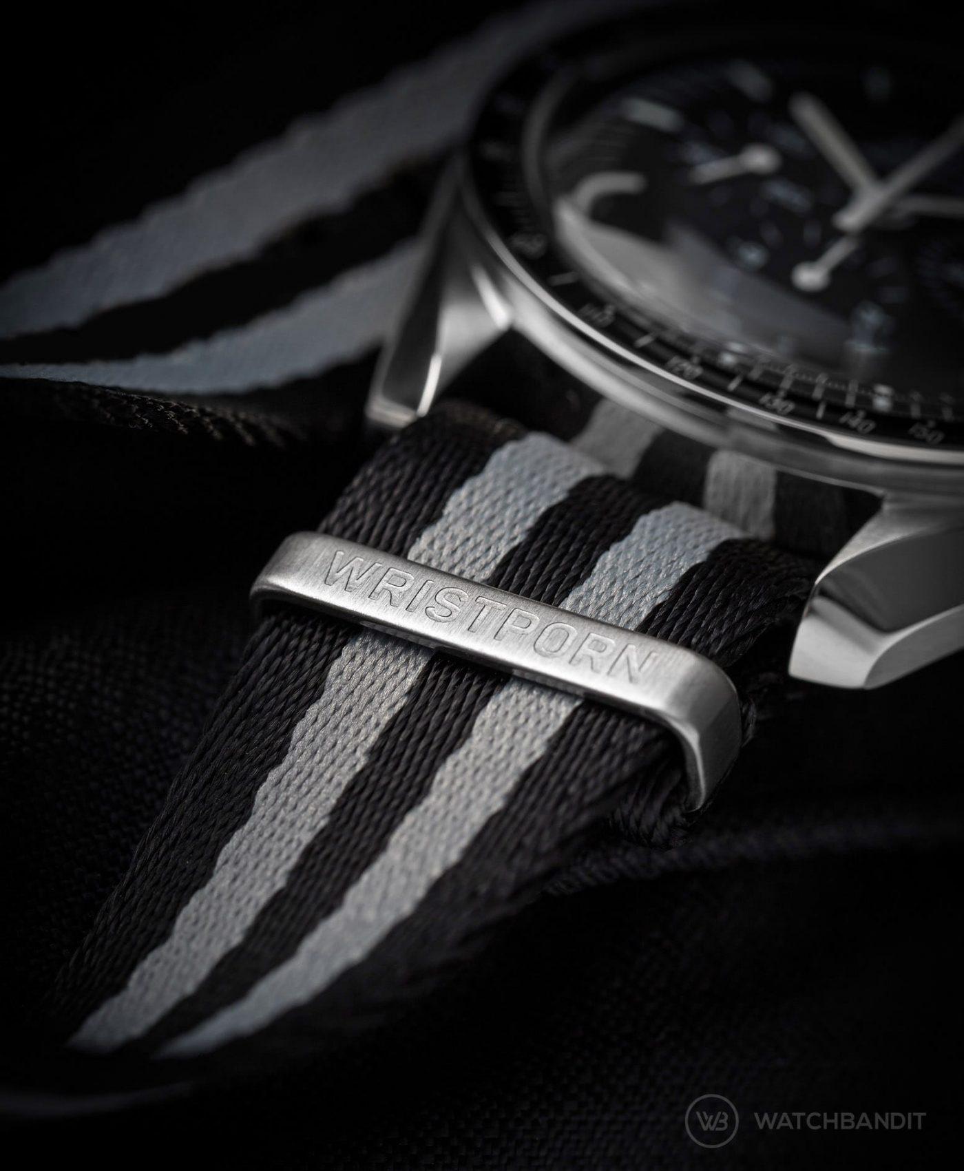 wristporn nato strap on omega speedmaster engraved steinless steel hardware by watchddicted