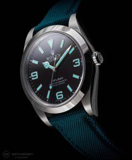 Rolex Explorer I Petrol green Sailcloth strap lume Watchbandit