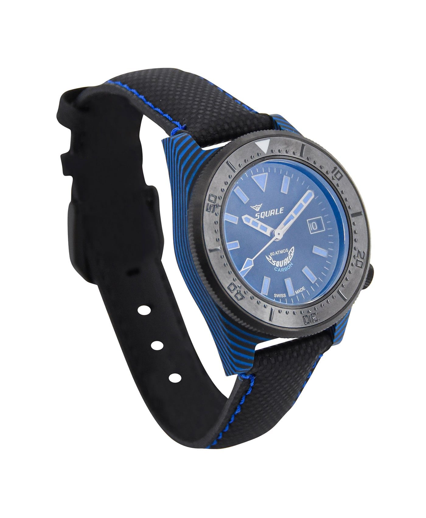 Squale T183 Diver blue black carbon fiber case left side