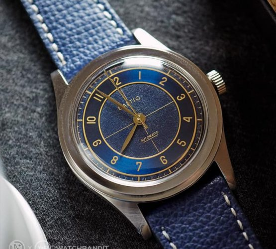 Baltic watch blue WB Original textured calfskin strap