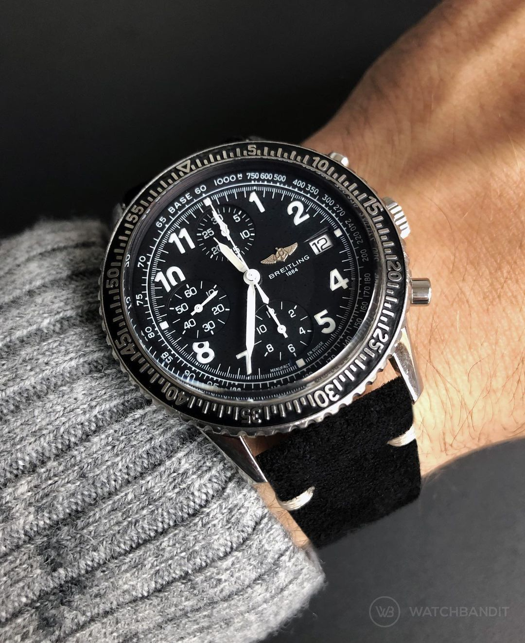 black suede strap watchbandit breitling
