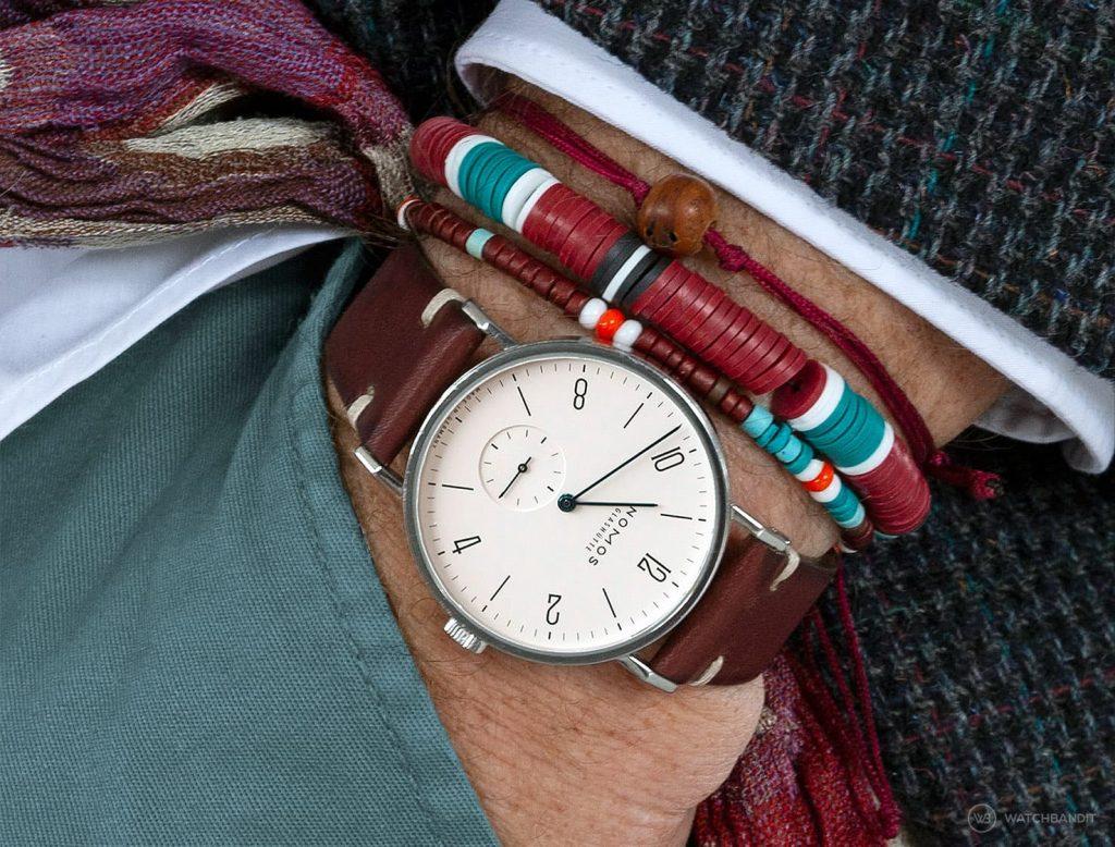 NOMOS Glashuette Tangente on burgundy vintage leather strap pocket shot Watchbandit