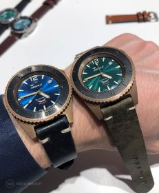 Squale 500 meter Professional Swiss Automatic Dive watch with Bronze Case Blue and green