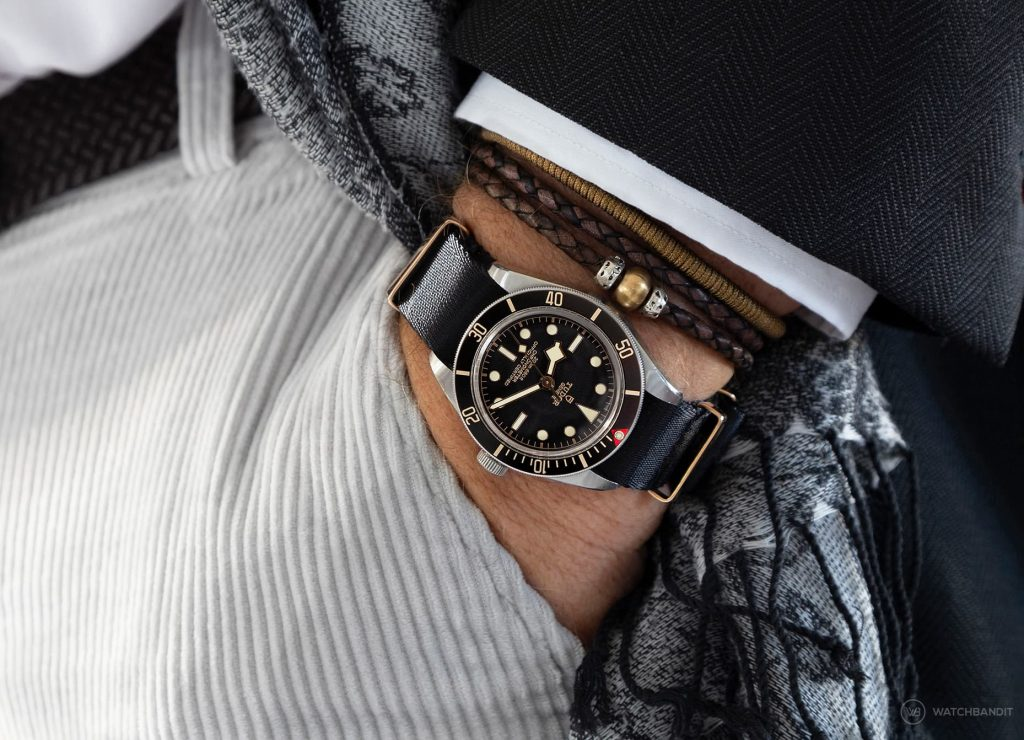 Tudor Black Bay 58 Pocket Shot on black rose gold NATO strap by Watchbandit