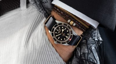 Tudor Black Bay 58 Pocket Shot on black rose gold NATO strap by Watchbandit