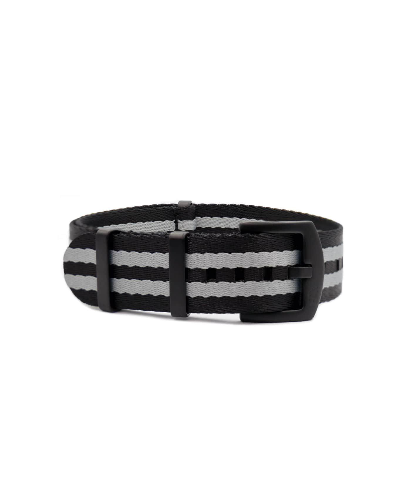 NATO strap black PVD hardware black grey stribed james bond Watchbandit