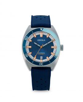 Circula watch AquaSport STP 1-11 Rubber Strap Blue White with relief wave