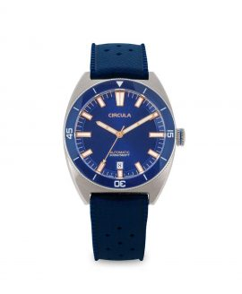 Circula watch AquaSport STP 1-11 Rubber Strap Dark Blue with sunray dial