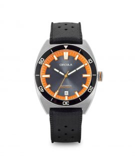 Circula watch AquaSport STP 1-11 Rubber Strap Grey Orange with sunburst dial