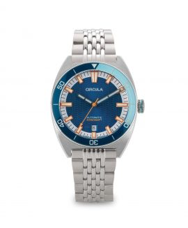 AquaSport, Caliber STP 1-11, Steel Strap, Blue White with relief waves dial